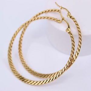 18K gold plated thin hoop earrings